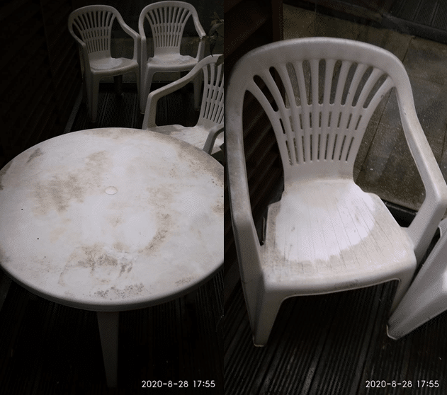 Atom Cleaners Garden chair and table_after